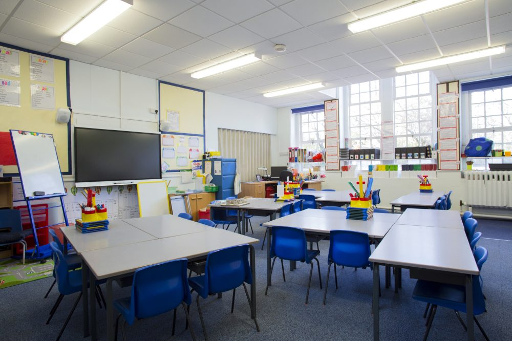 An empty primary school classroom.